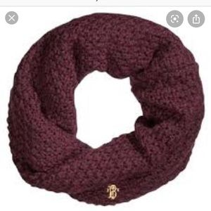 Tory Burch wool knit snood infinity scarf Merlot
